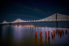 Bay Bridge (kevinstewart4) Tags: evening landscapephotography oakland sky bridge city majestic nightphotography bridges sanfrancisco bayarea baybridge