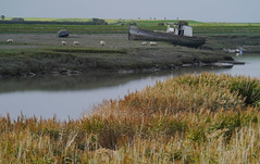 River Brue Blues (jump for joy2010) Tags: uk england somerset burnhamonsea october 2016 local landscapes autumn riverbrue estuary cyclepath footpath muted misty riverbank hightide still silty mud boat wreck