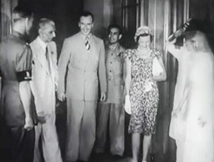 Jinnah and Mountbattens at the banquet (Doc Kazi) Tags: pakistan india independence negotiations ceremonies jinnah gandhi nehru mountbatten viceroy wavell stafford cripps edwina fatima muhammad ali