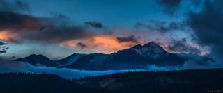 Sunset behind Pyramid Mountain