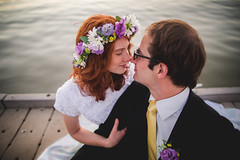 love (KieraJo) Tags: wide angle canonef24mmf14liiusm l lens canon 5d mark 3 iii 5d3 fullframe dslr bride groom couple love cuddle touching noses yellow tie flower crown floral florals red hair pretty beautiful dock water background dark glasses wedding formals bridals formal shot