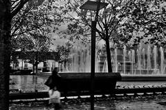 Humeur d'automne... Autumn mood... #Darktable #Wiko (ImAges ImprObables) Tags: bourgogne ctededor ville dijon place placedelarpublique eau jetdeau arbre pluie automne mobilierurbain passant nb noiretblanc bw blackandwhite traitrement darktable wikocinkpeax