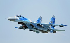 "Sukhoi Su-27 ""Flanker"" - Ukrainian Air Force @ LZSL (stecker.rene) Tags: sukhoi suchoi su27 flanker military jet fighterjet ukranianairforce ukrainian airforce aircraft sky blue 58 aerialdisplay flyingdisplay airshow lzsl combat sliac aerodrome afb airbase slovakia siaf siaf16 siaf2016 kampfjet interceptor flying flypast canon eos7d tamron 150600mm"