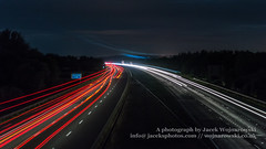 M5 by night B (Jacek Wojnarowski Photography) Tags: road uk nightphotography summer england motion blur horizontal clouds landscape lights europe darkness motorway outdoor transport somerset front transportation expressway superhighway 16x9