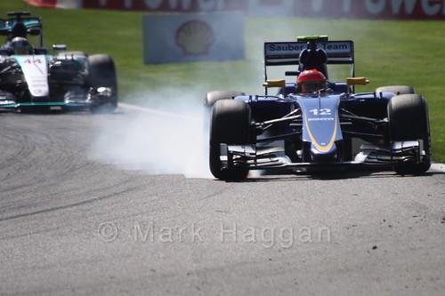 Felipe Nasr in his Sauber in Free Practice 1 for the 2015 Belgium Grand Prix