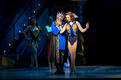 John Rubinstein as Charlemagne, Sabrina Harper as Fastrada and the company of the national tour of PIPPIN presented by Broadway Sacramento at the Sacramento Community Center Theater Dec. 29, 2015 – Jan. 3, 2016.  Photo by Joan Marcus.