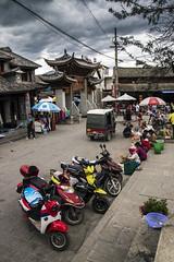 Motorcycles (ponzoosa) Tags: china plaza trip lake square pueblo dali motos erhai xizhouzhen