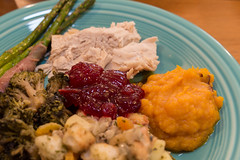 thanksgiving dinner (jojoannabanana) Tags: thanksgiving food turkey stuffing cranberrysauce broccoli asparagus squash thanksgivingdinner fiestaware