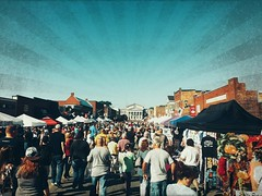 Apple festival. (yandow_andre) Tags: sky people music food sun fall me apple festival mainstreet afternoon stage crowd surprise townhall through let crowds smells starburst pushing surprising shoving commotion somanypeople
