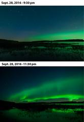 Changing skies (Len Langevin) Tags: aurora borealis northern lights longexposure highiso changingskies alberta canada lake reflection water bigdipper nikon d300s tokina 1116