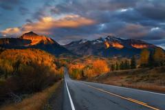 Road to the fall (Wind Walk) Tags: san juan mountain colorado fall color road aspen sun rise