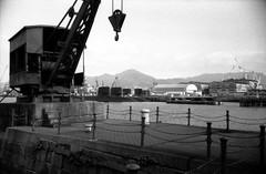 (iron empire) (Dinasty_Oomae) Tags: leica leicaiiia leica3a  iiia 3a   blackandwhite blackwhite monochrome bw outdoor   hiroshima   kure  crane  submarine  jmsdf