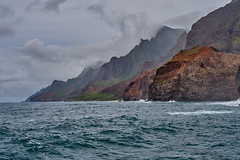 Na Pali Coastline (AgarwalArun) Tags: napalicoast pacificocean ocean water waves surf landscape napali ruggedcoastline cliffs sonya7m2 sonyilce7m2 sony hawaii kauai island scenic nature views mountain fog clouds