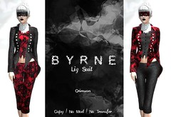 (BYRNE) LizSuitAD-Crimson (ByrneDarkly-www.tartiste.wordpress.com) Tags: byrne scaremesilly donation teamdiabetes mesh fashion halloween womens capris jacket suit