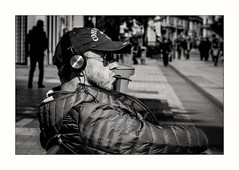 The man with cigarillo (Elisa.z) Tags: 2016 85mm canon70d highkey homme lyon nb nuit streetphotography