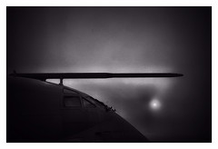 The fog of war ! (CJS*64) Tags: cjs64 craigsunter cjs craig nikon nikkorlens nikkor nikond7000 dslr d7000 18mm105mmlens manchester blackwhite bw blackandwhite mono monochrome whiteblack whiteandblack airport aircraft airplane nimrod raf grounded