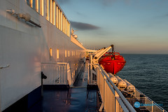 Amsterdam Trip-438-7.jpg (Sidekick Photo) Tags: dfds ferry early sea sky clouds lifeboat deck blue reflection