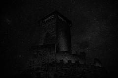 Castel San Michele and starry sky illusion (Eric@focus) Tags: newsky starsadded silverefexpro landscapeprostudio noiretblanc nikond7100 iso6400 neroametà