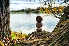 Steinkugeln (Smo42) Tags: baum herbst laub stein stone balance art steinstapel wasser fluss sonya58 sal1650 ast