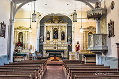 Sanctuary of the San Felipe de Neri Church (D Allen Johnson Photography) Tags: united states new mexico bernalillo county albuquerque old town san felipe de neri church sanctuary religion religious icon iconography pew rows alter historic history indoor natural light stations cross holy spiritual