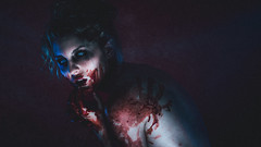 Jacqueline / Blood (Thomas Ohlsson Photography) Tags: blood bluelight freakshow halloween horror jacquelinestand model nightofthelivingdead pentaxk3ii portrait portraiture smcpentaxfa77mmf18limited scary studio thomasohlssonphotography undead weareallfreaks zombie thomasohlssoncom