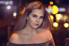 (yvind Bjerkholt (Thanks for 33 million+ views)) Tags: night portrait beauty beautiful gorgeous pretty breeze woman girl female she canon 50mm f14 bokeh city face lips eyes hair windy arendal norway dreamy classy classic