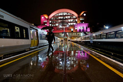 Charing Cross Station - Man with Umbrella (Luke Agbaimoni (last rounds)) Tags: rain rainy london charing cross umbrella night train tube travel reflection symmetry uk