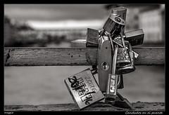 Candados en el puente (meggiecaminos) Tags: italia italy florence florencia firenze water acqua agua candados bridge puente ponte padlocks lucchetti rio river fiume arnoriver fiumearno rioarno pontevecchio bw bn bianco blanco black negro nero white