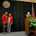 Chancellor Randy Woodson (right) applauds Andy and Jane Albright for their $5,000,000 gift.