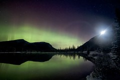 Moonrise over Forgetmenot Mtn (John Andersen (JPAndersen images)) Tags: aurora forgetmenotpond moonrise night orion reflections silhouettes stars tree