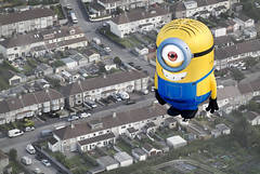 Minions are Landing (Carolbreeze99) Tags: bristol landscape flying cityscape balloon flight suburbia surreal aerialview fromabove odd balloonfest minion