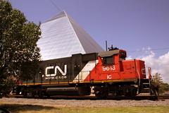 CN IC #9613 Locomotive at the Memphis Pyramid (SeeMidTN.com (aka Brent)) Tags: cn train ic tn pyramid memphis tennessee locomotive canadiannational icg emd gp382 illinoiscentral 9613 dieselelectriclocomotive memphispyramid bmok bmok2