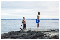 Evening Swim (fotografier/images) Tags: leica sea summer portrait people playing boys norway swim children brothers norwegian larkollen leicas summarits70mm