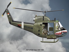 Huey (flyingshamrockart) Tags: huey helicopter caricature sharkmouth uh1b