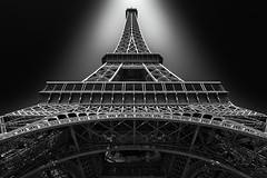 Eiffel Tower (AO-photos) Tags: light blackandwhite paris france art monument architecture noiretblanc eiffeltower