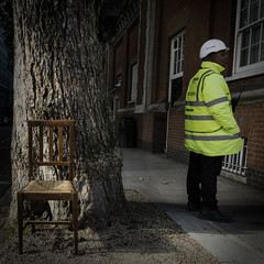 Chair and Tree (stevedexteruk) Tags: street uk tree london bedford high chair security jacket bloomsbury worker avenue visibility 2015