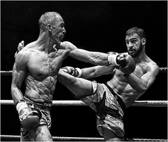 Tit for tat (Ken Alexander Photography) Tags: monochrome sport fight nikon kick thai d750 boxing combat muay