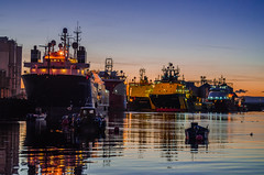 The Big Boats (daedmike) Tags: sunset industry boats angus ships northsea ferryden gloam
