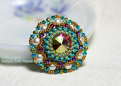 Cupola (BeeJang - Piratchada) Tags: pink blue white green rose gold golden necklace crystal handmade turquoise jewelry pearl swarovski miyuki beading beaded pendant beadwork beadweaving