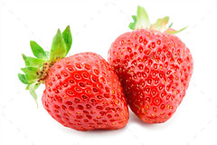 Two Ripe Strawberries (Misc) (hypesol) Tags: red summer two food white macro green closeup fruit season dessert leaf juicy healthy strawberry berry perfect sweet background group strawberries tasty fresh delicious whole health vegetarian organic diet isolated freshness ripe