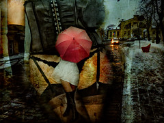 Dark shadows on the Land of Mary.Prostitution.  Surrealism. (Nellie Vin) Tags: street city red woman white color stockings car umbrella dark photography lights shadows boots surrealism fineart prostitution land nellievin