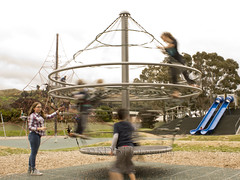 Cousins at Maidstone Park, Upper Hutt 47 (C & R Driver-Burgess) Tags: boys girls young play park playground plaid jeans minecraft tshirt blonde curls blue roundabout spinner child kids flying smile rope