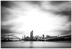 The River City - Brisbane (JakaPH Photography) Tags: city cityscape street sky skyline skyscraper day daylight motion clouds cloudy movement moving brisbane queensland australia river rivercity lee little stopper nd 16 6 10 bridge bright landscape building black white bw urban goodwill