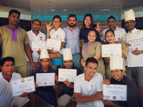 Scubaspa Maldives Yang Crew proudly receiving their SABA (South African Butler Academy) Training Certificates.   Well done to all!   #training #cruise #SABA #southafricanbutleracademy #butlertraining #certificate #upgrade #luxurytravel #service #oshingrap