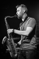 Huntertones (tim.perdue) Tags: huntertones jazz band natalies pizza worthington ohio columbus music live concert performance bar restaurant musician musical instrument black white bw monochrome saxophone tenor sax horn woodwind player