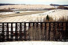 Rochfort Trestle (JMacPherson) Tags: train bridge rural alberta cnrail canada lines prairie farming harvest truck