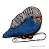 Blue Budgie (JoMo (peaceofpi)) Tags: bird budgie budgerigar parakeet pet brooch kiltpin handembroidery needlefelting wool handstitched handsewing babybird peaceofpi canada craft handmade tiny mini miniature