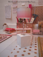 I did some very inexpensive DIY to my desk area downstairs. It's very motivational to have a bright, organized space to work. The back is just foam core, because my late sister's dollhouse is behind it, and I can remove the foam core to access it. (wpnschick) Tags: desk deskaccessories pinkandgold rosegold hollywoodregency modern miniature modernminiature miniaturehollywoodregency 16thscale barbiefurniture