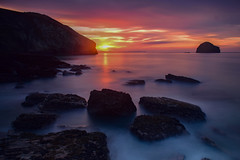Sunset long exposure #2 (Myles Pinkney Photography) Tags: sunset cornishcoast rocks seascape landscapephotography photography longexposure red orange pink sun ndfilter tripod sea waves