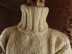 Hand Knit Australian Wool Extra Thick Men's Ecru T-neck Sweater (Mytwist) Tags: hand knit australian wool extra thick mens ecru tneck sweater jumper tigrisina fashion style modern exclusive turtleneck fetish heavy